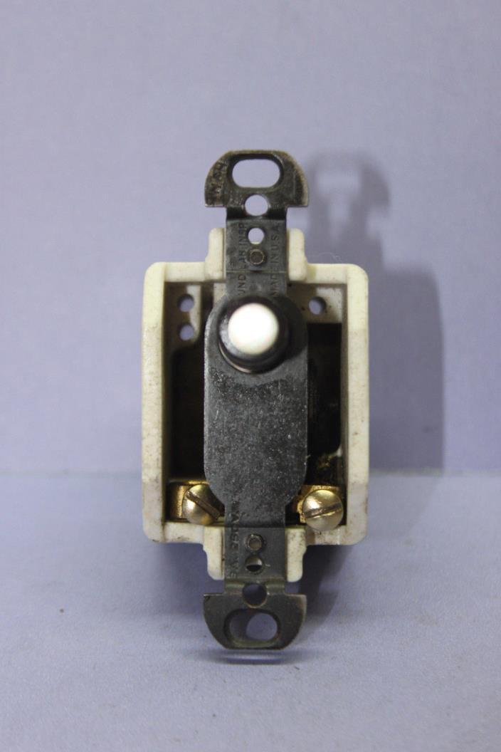 Vintage Hart & Hegeman Porcelain Push Button Momentary Switch - Black - RARE