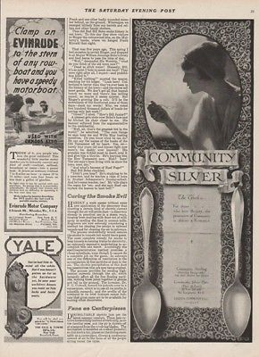 1915 Oneida Community Silver Spoons~Vintage Evinrude Outboard Boat Motor Ad