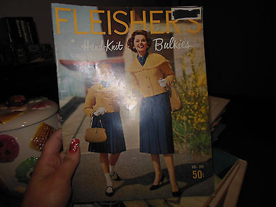 Vintage Fleishers Hand Knit Bulkies Vol 104 1959 B&W Photos 35 pages
