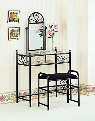 Coaster Vanity Table Set in Black Vanities Makeup Tables Furniture Home Garden