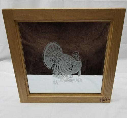 Vintage Decorative Wood Turkey Etched Mirror/Home decor