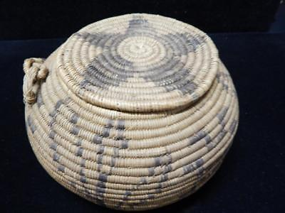 VINTAGE / ANTIQUE SO CALIFORNIA CAHUILLA MISSION INDIAN LIDDED BASKET - EARLY EX