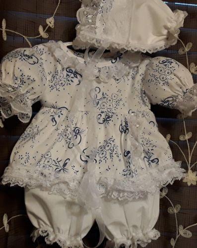 Reborn Baby Doll Ensemble Blue & White  Dress ,Bonnet & Bloomers