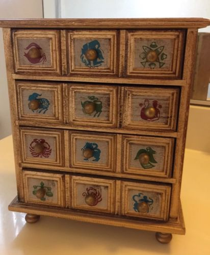 Vintage Astrological Zodiac Signs 4 Drawer Jewelry Box 10