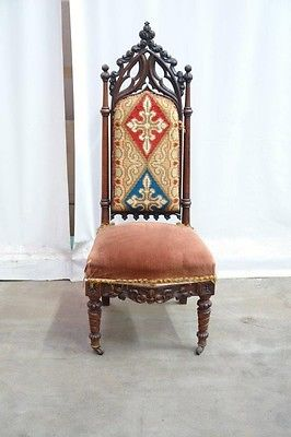 5509031 : Small Antique French Gothic Side Chair / Vanity Chair