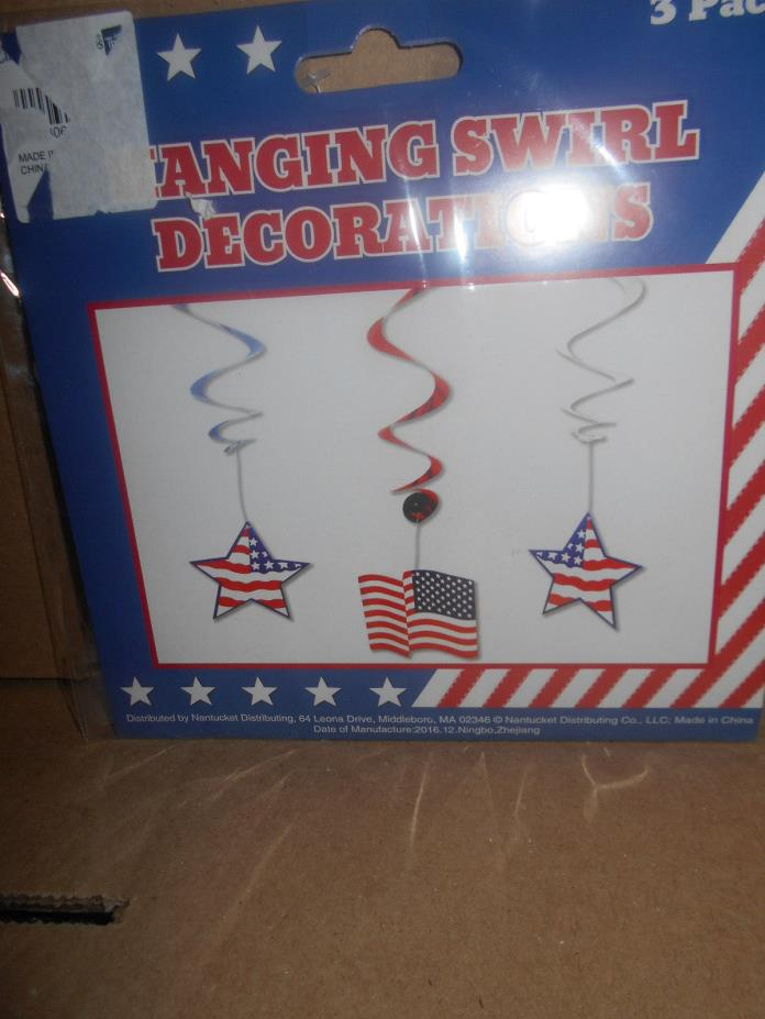 4TH OF JULY  PATRIOCT 3IN PACK HANGING SWIRL DECORATIONS BLUE WHITE RED