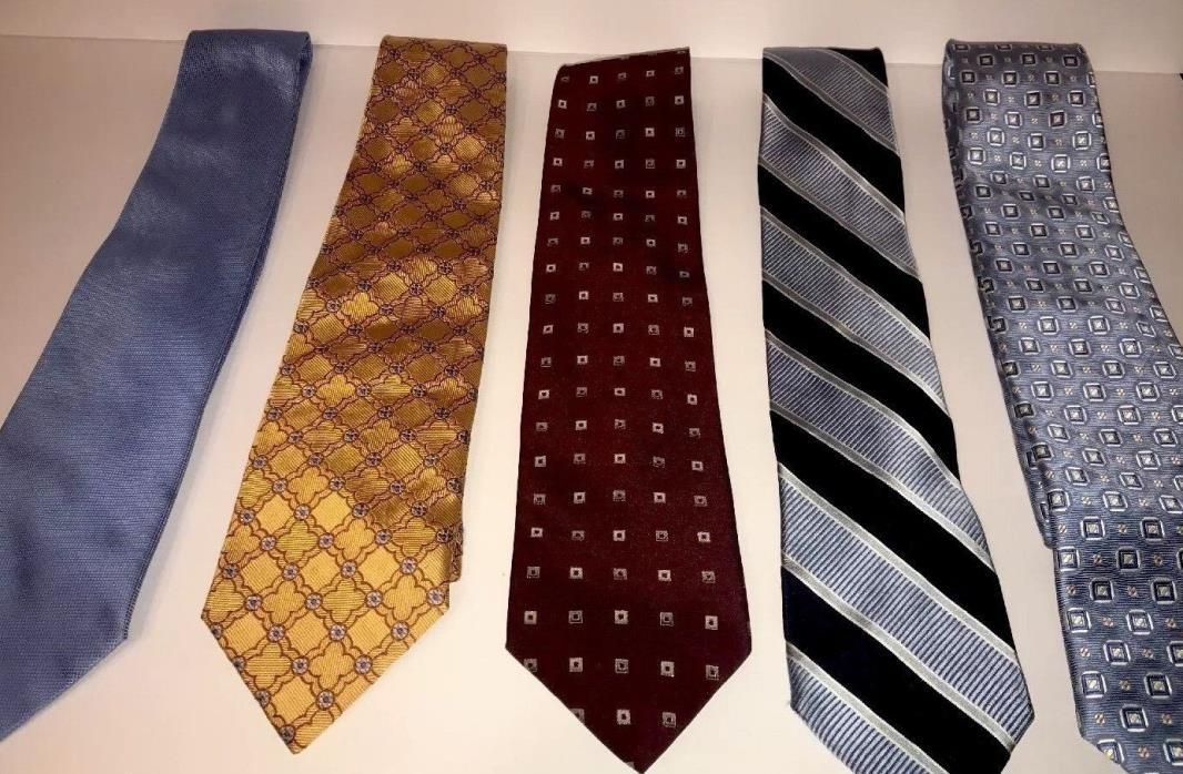 Lot Of 5 Designer 100% Silk Ties Paul Smith Jos A Bank Bergamo New York Hilfiger