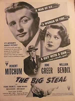 The Big Steal, Robert Mitchum, William Bendix, Full Page Vintage Promotional Ad