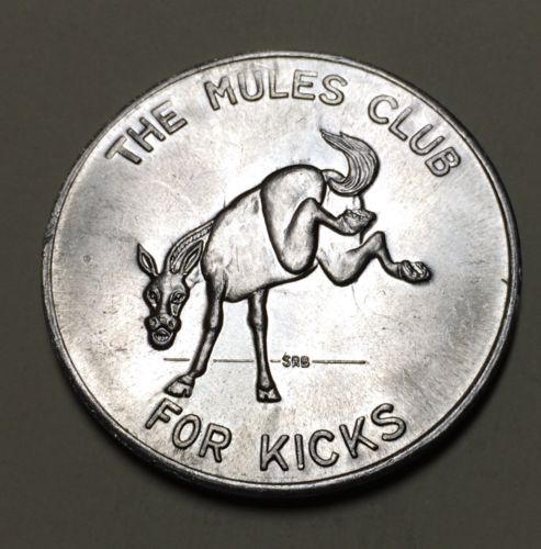 1969 For Kicks The Mules Club Mardi Gras In Dixie Doubloon Rebel Flag Mule