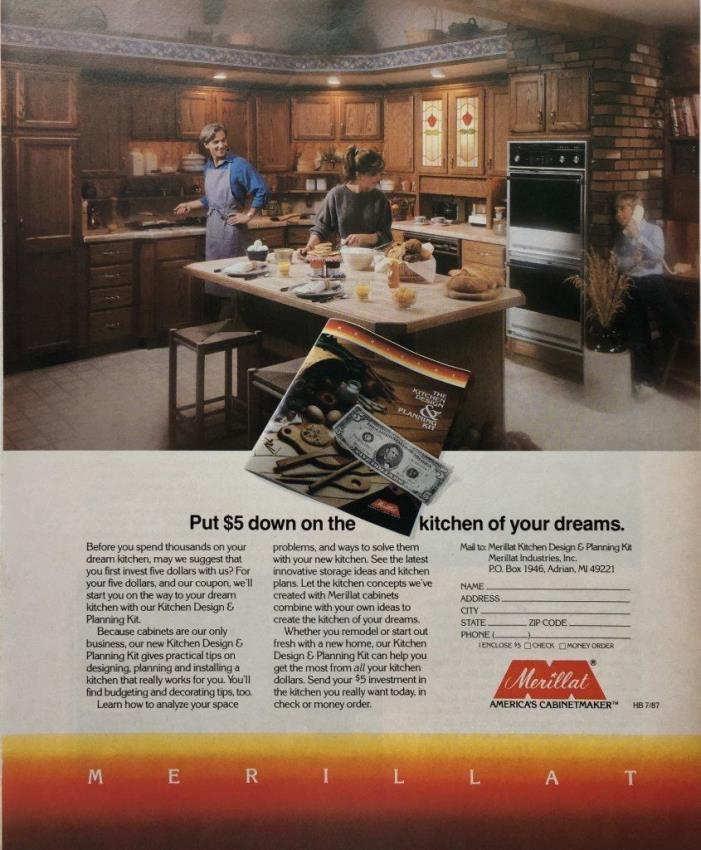 1978 MERILLAT Kitchen Cabinets  70's Design Vintage PRINT AD