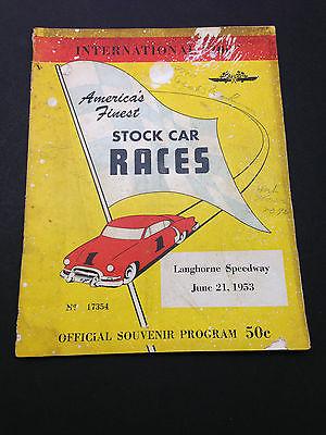International 200 Stock Car Race Program 1953 Langhorne Souvenir Advertising