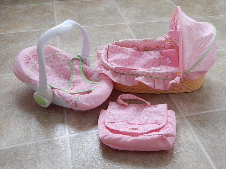 Tollytots dolls bassinet/ bed carseat and bag Pink Floral EUC.