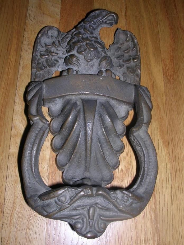 ANTIQUE SOLID BRASS EAGLE DOOR KNOCKER HEAVY 9