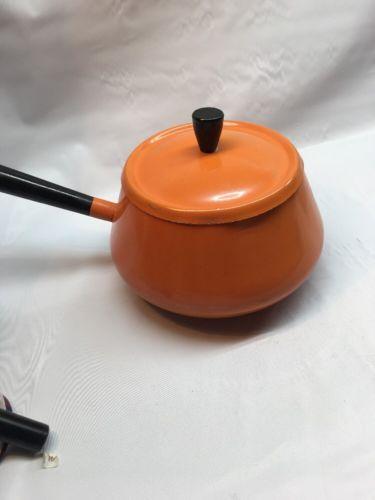 Vintage Imperial Bright Orange Fondue Pot 1960's-1970's L5