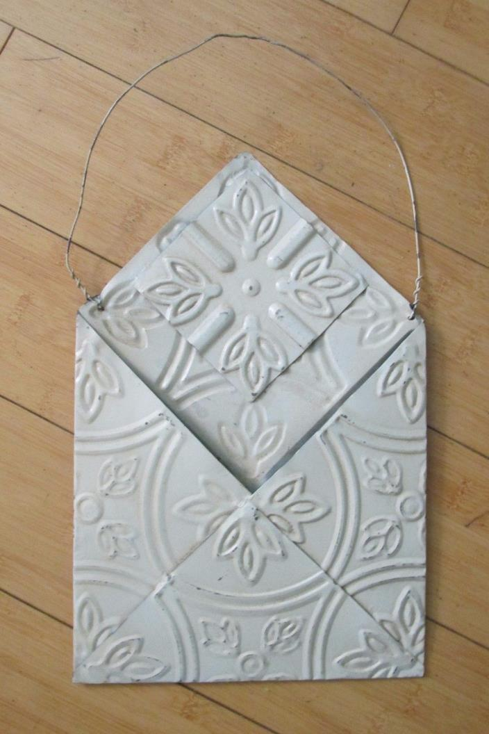 TINWARE TIN CEILING TILE WALL POCKET SHABBY FRENCH CHIC