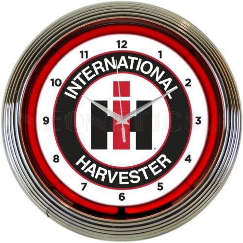 New old style International Harvester farm tractor neon clock Fast Free Shipping