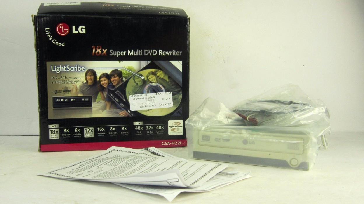 External LG 18x Super Multi DVD-CD Burner GSA-H22L Lightscribe Electronics *NEW*