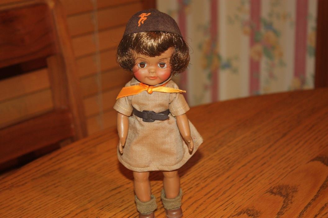 Vintage 1965 Effanbee Fluffy African American Doll in Brownie Girl Scout Outfit