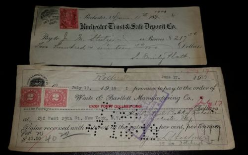 1900 1919 Bank Check Rochester Trust & Safe Waite Bartlett Lot of 2 w Revenues