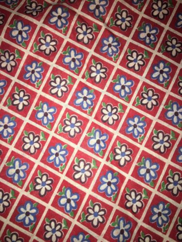 Vtg Cotton Quilt Fabric Red Flower Floral 100x35 Inches