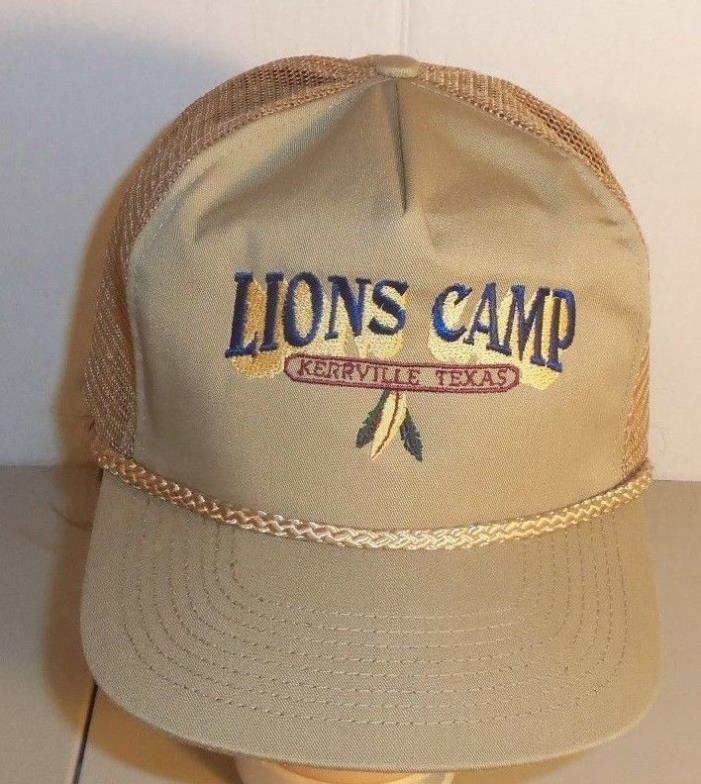 Texas Lions Club Ball Cap Snapback Mesh Kerrville Camp Vintage Trucker Hat Brown