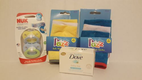 baby bath set with pacifier, 2 packs of wash clothes, and dove baby soap