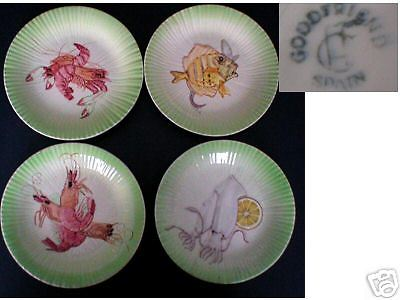 Majolica set of four plate with seafood design