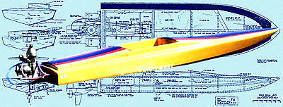 Build a Radio Control Racing ski boat 7.5 to 11cc outboard F/S printed Plans