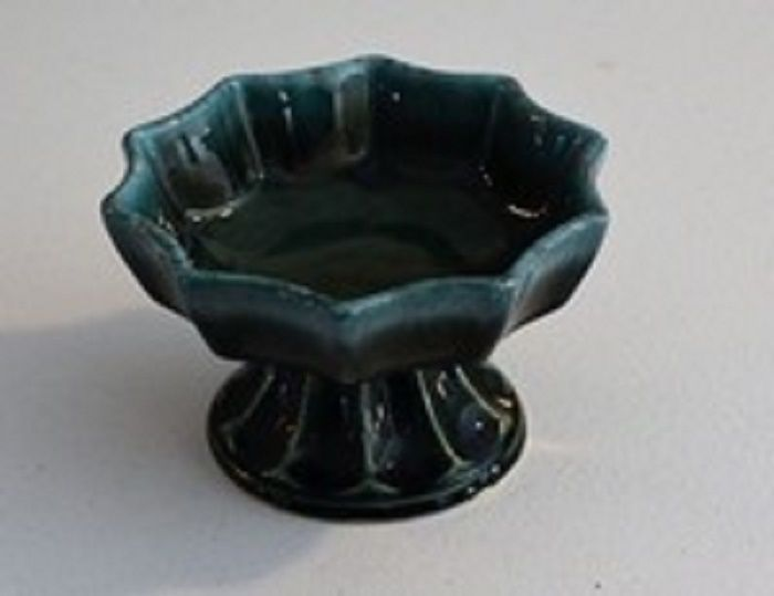 Vintage Hull Pottery Imperial Green Agate Drip Pedestal Planter