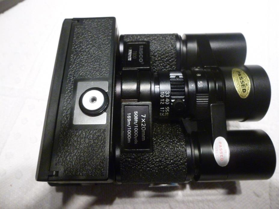 Vintage Tasco 7x20 Binocular/Camera combo model #7800. 110 film.