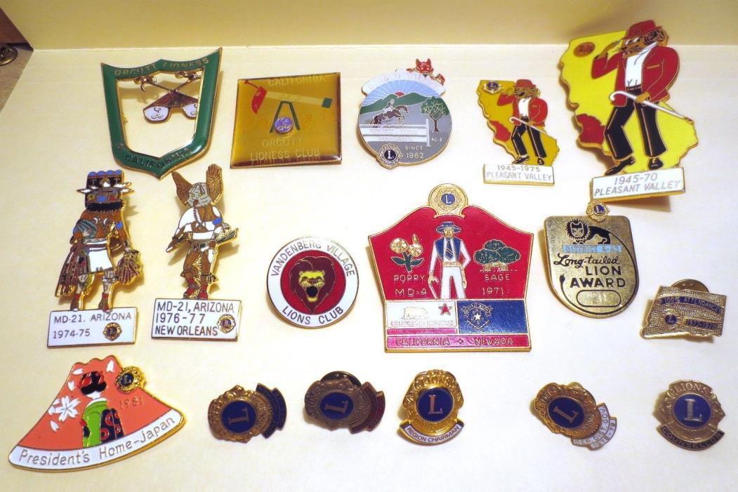 Lions Club Pins - Lot of 17 - Lion Lioness - Vintage 1970s 1980s Calif Az Japan