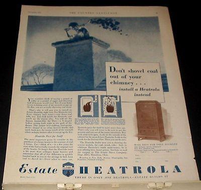 1931 Estate Heatorola vintage print Ad Shovel Chimney Coal Man