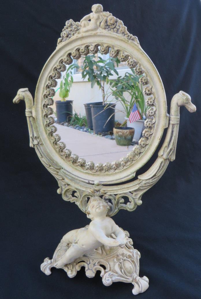 Vintage CAST IRON Vanity STANDING MIRROR Art Nouveau Cherub By Iron Art 14 3/4