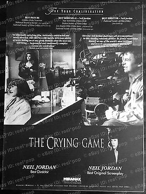 THE CRYING GAME Rare OSCAR AD 1992 Neil Jordan BEST PICTURE Camera