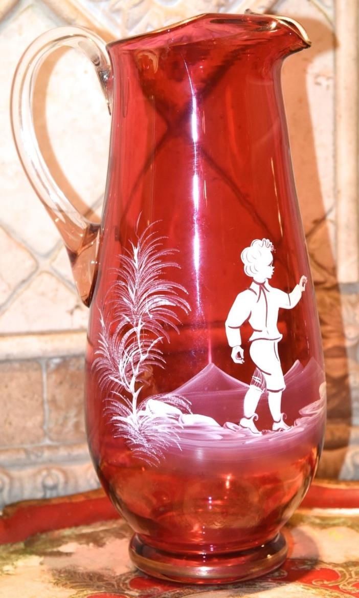 MARY GREGORY CRANBERRY RED GLASS PITCHER GOLD GILT RIM 10.5