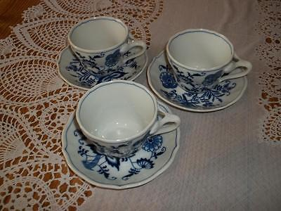 Set Of 3 Blue & White Blue Danube Cups & Saucers Blue Onion Pattern Collectibles