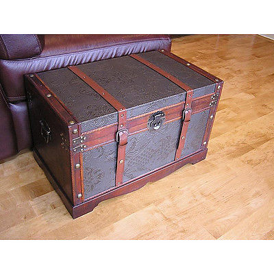 Trunk Sienna Wood Medium with Faux Leather Accents for Coffee Table and Storage