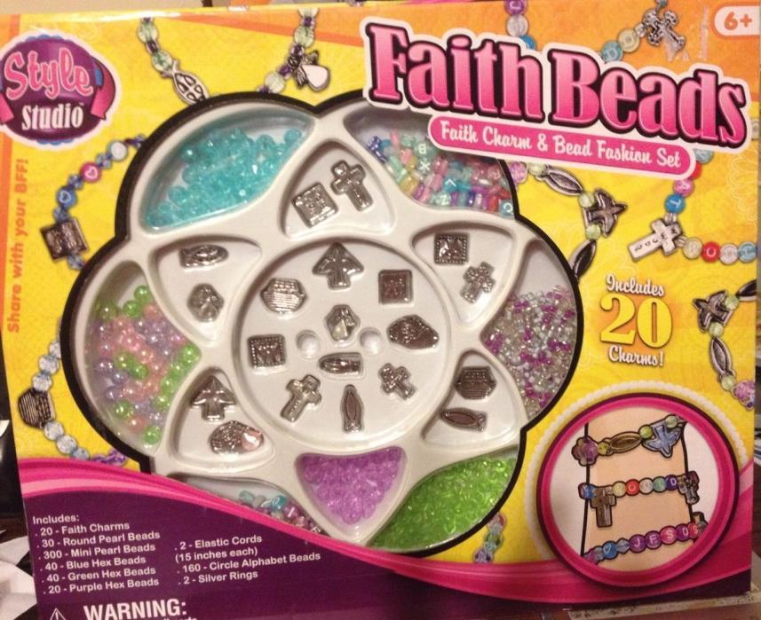 Faith Beads Faith Charm & Bead Fashion Set Kit Style Studio Kids 6+ BFF 20 Charm
