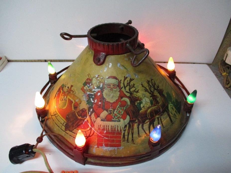 Very Old Marvelous 1930's Noma Lighted C-6 Tin Litho Christmas Tree Stand