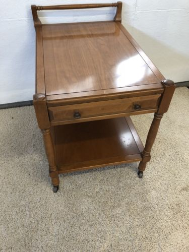 Vintage Wood two Tier Tea Serving Cart on Wheels Butlers Table