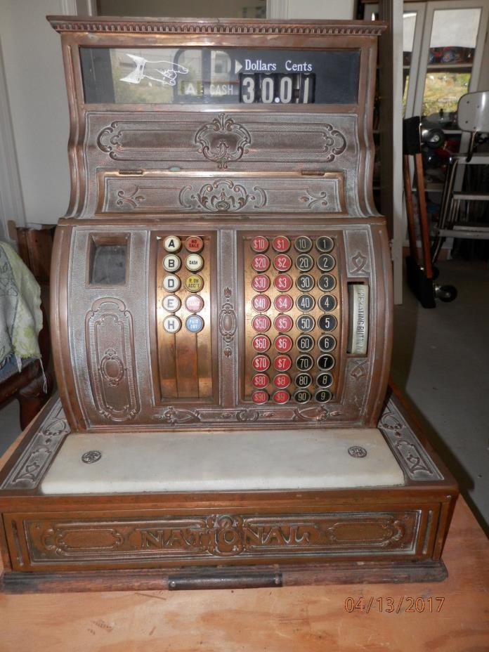 Antique National Cash Register Co.Brass Model 1064 working! Estate Fresh! USA