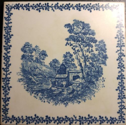 RICHARD GINORI TILE MADE IN ITALY ANTIQUE BLUE AND WHITE 6