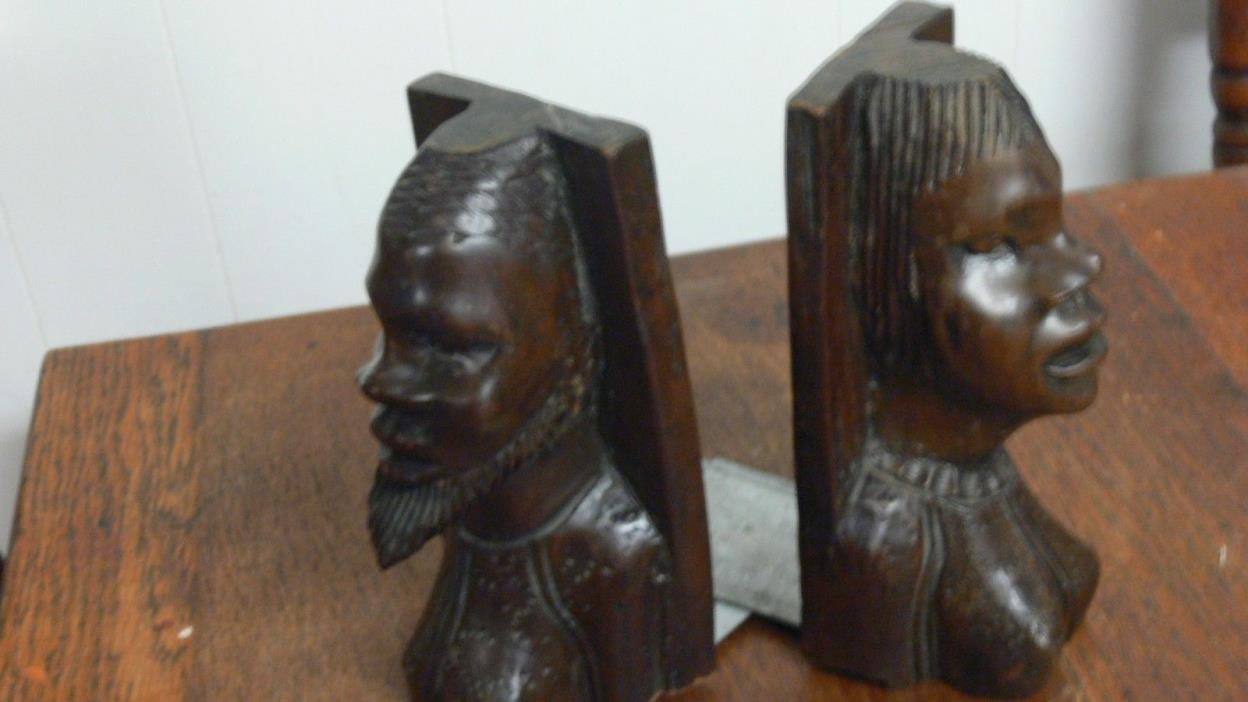 African Haiti Rosewood Hand Carved Bust Statue Bookends