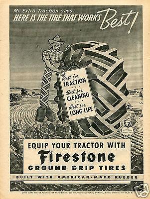 1943 Firestone Mr Extra Traction Farm Tractor Tire Print Ad