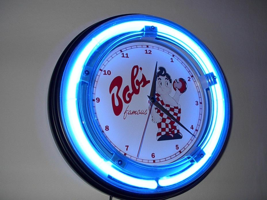 @@@ Bob's Big Boy Diner Restaurant Kitchen Blue Neon Wall Clock Sign