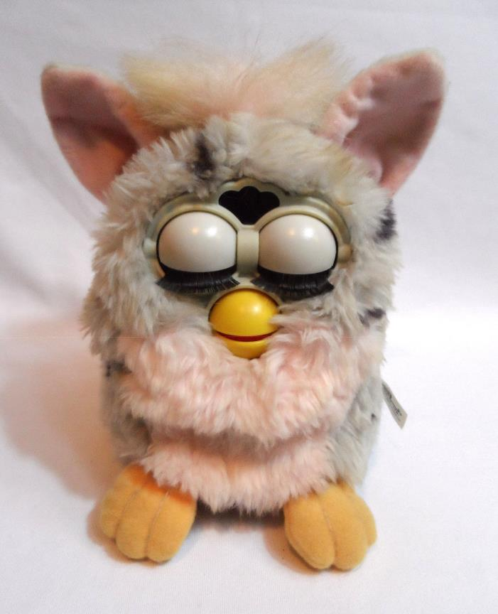 1998 Original FURBY 70-800 Pink Gray Dalmation USED Fair WORKS Blue eyes TIGER