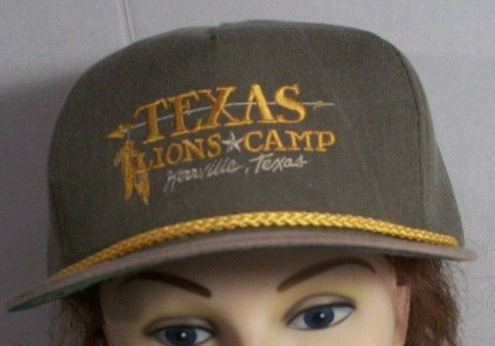 Vintage Texas Lions Club Hat Ball Cap Snapback Kerrville Camp Made in USA Khaki
