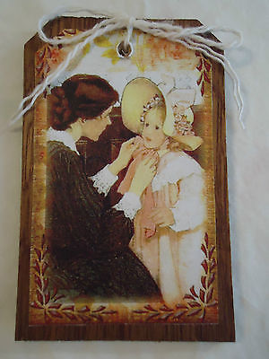 5 Wood MOTHER'S DAY Mother & Child HangTags/GiftTags/Ornaments HANDCRAFTED Set9p