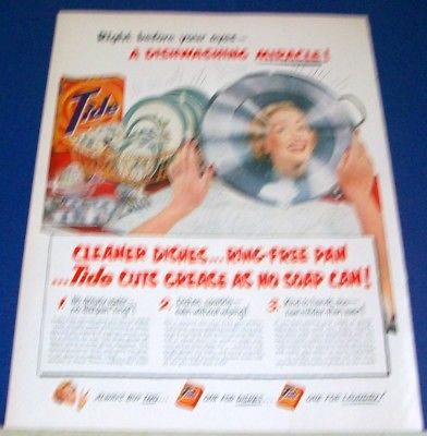 1951 vintage kitchen Tide Dishwashing Miracle vintage print Ad