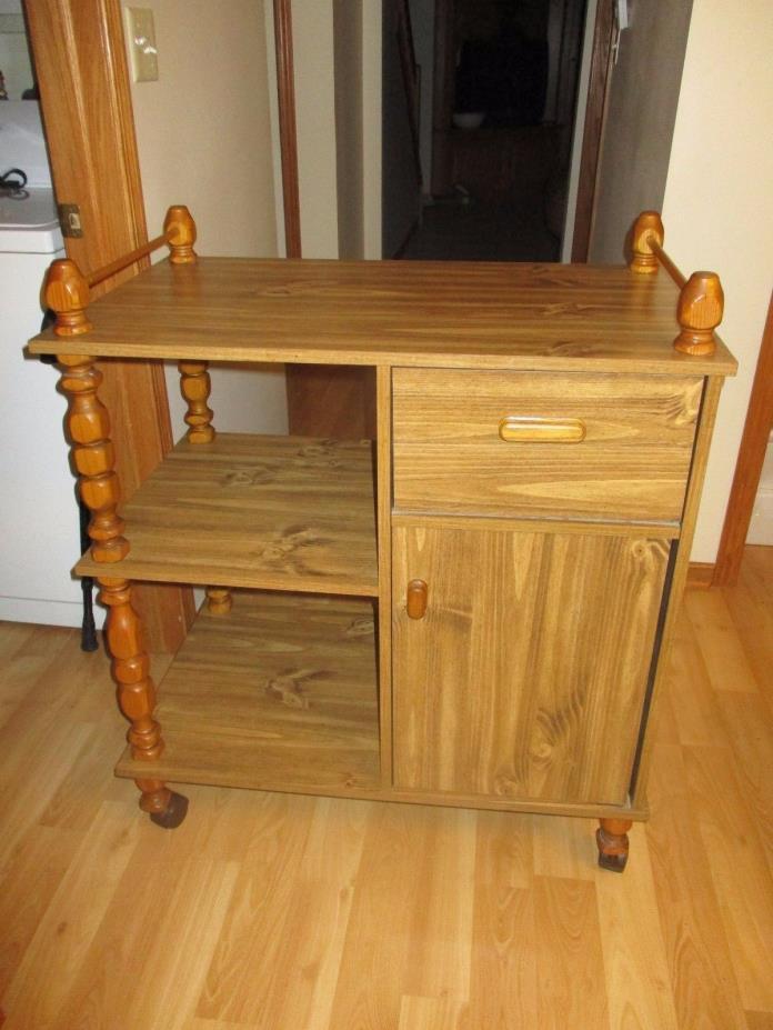 Rolling Cart Kitchen Island Drawer Cabinet Door butcher block microwave stand